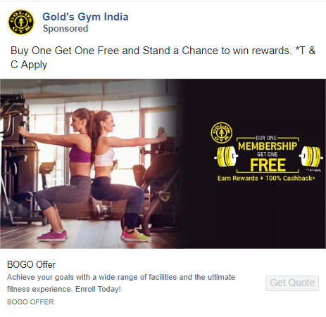 facebook ad for gym