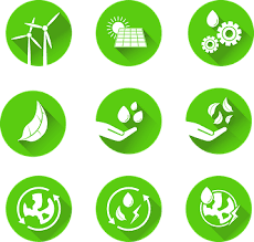 an image of various sustainable environment technologies such as windmill and solar plate