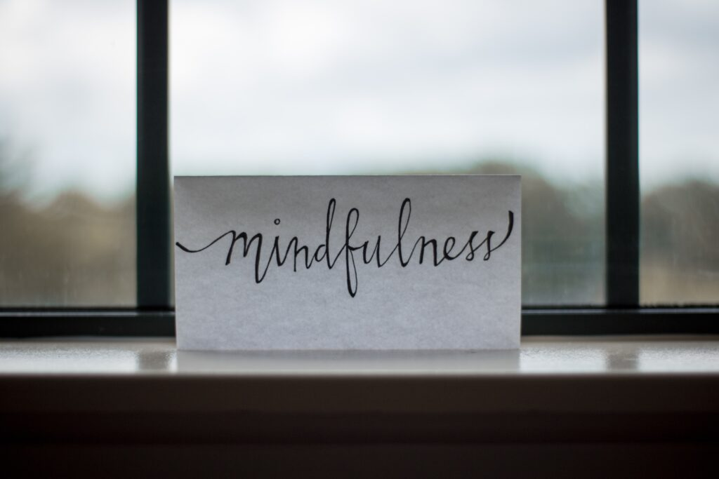 image with mindfulness written on a paper